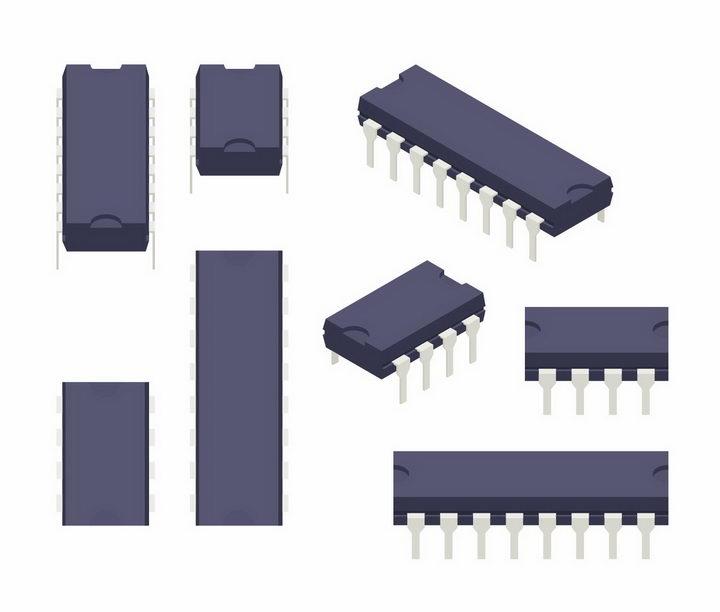 各种双列直插式集成电路芯片电子元件png图片免抠矢量素材 IT科技-第1张