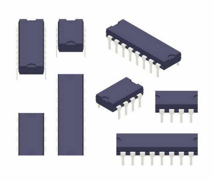 各种双列直插式集成电路芯片电子元件png图片免抠矢量素材