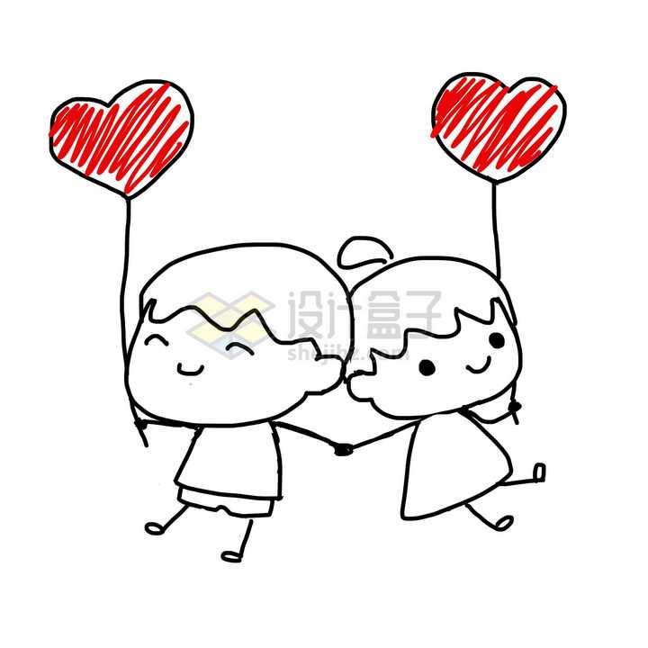 黑色线条卡通小男孩小女孩情侣拿着涂鸦红心气球png图片免抠素材
