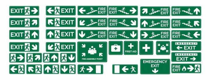 各种安全出口指示灯绿色标志牌紧急逃生出口png图片免抠矢量素材