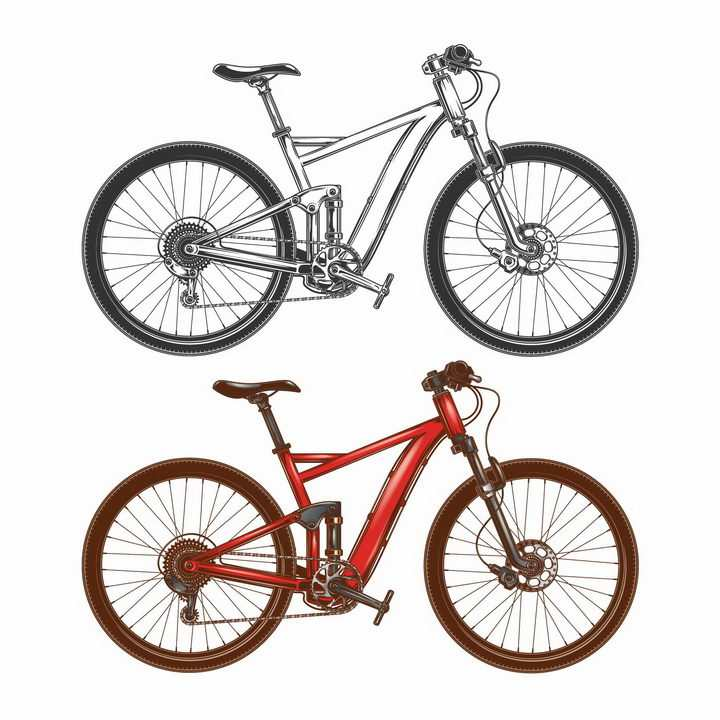 两款山地自行车运动自行车png图片免抠矢量素材