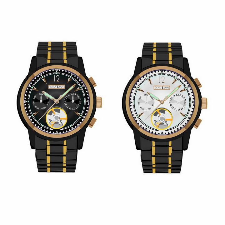两款黑色表带的机械手表智能手表png图片免抠矢量素材 生活素材-第1张