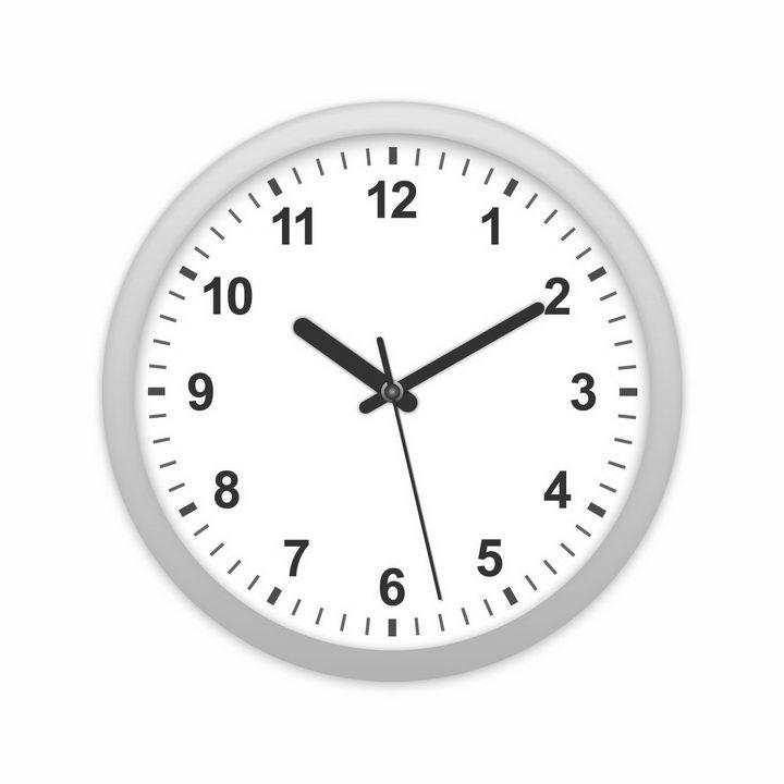 灰色边框圆形钟表粗壮的时针分针秒针时钟png图片免抠矢量素材 生活素材-第1张