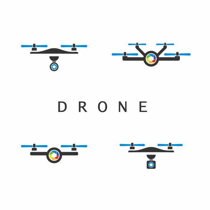 4款扁平化风格简约带摄像头的无人机logo设计方案png图片免抠矢量素材 IT科技-第1张