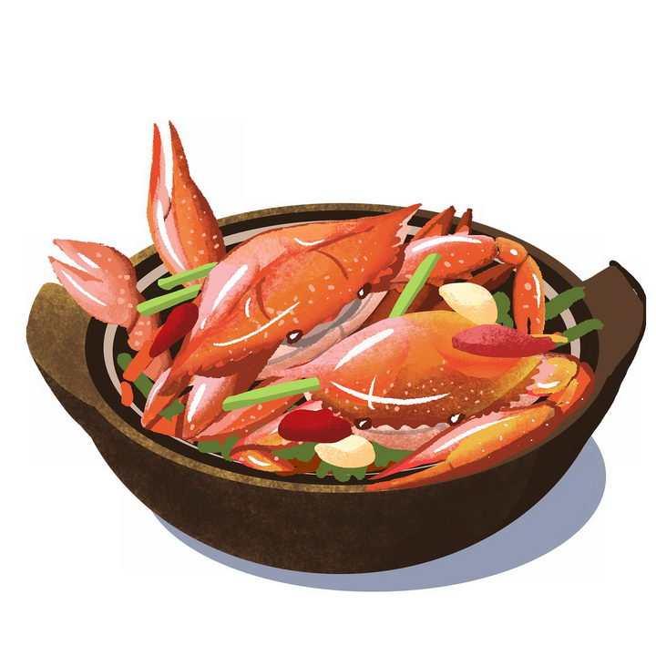 手绘风格砂锅中的香辣蟹png图片免抠素材
