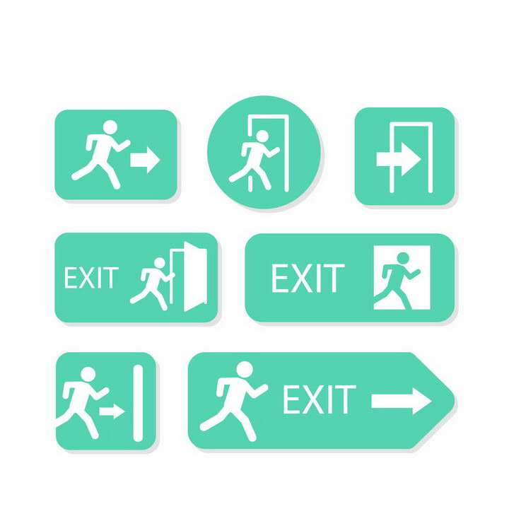 7款各种形状的绿色安全逃生出口标志指示牌png图片免抠矢量素材 标志LOGO-第1张