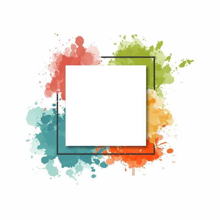 白色文本框标题框背景是彩色墨水喷墨效果png图片免抠ai矢量素材
