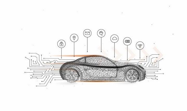 点线组成的智能汽车电动汽车png图片免抠矢量素材 交通运输-第1张
