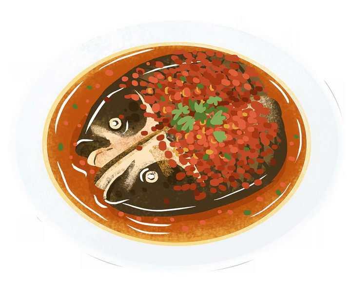 手绘风格的剁椒鱼头美味美食png图片免抠素材