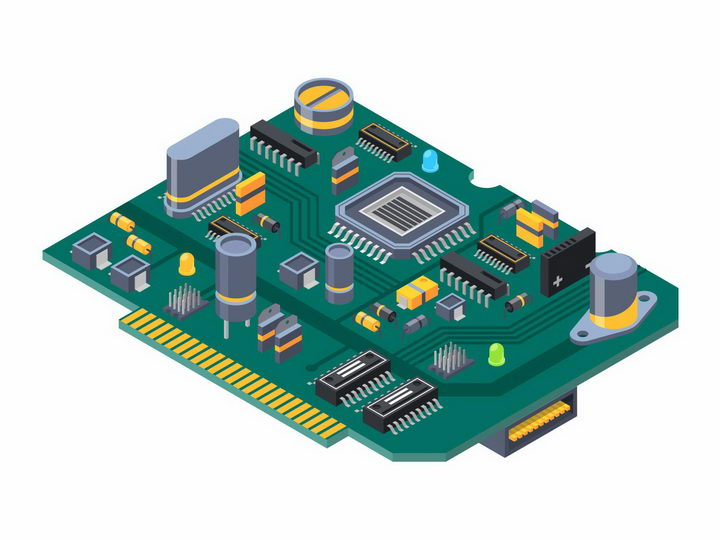 2.5D风格印刷电路板PCB板电脑主板png图片免抠矢量素材 IT科技-第1张