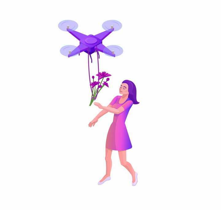 紫色无人机送花给美女快递物流png图片免抠矢量素材