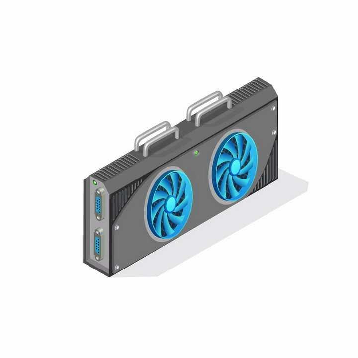2.5D风格装有两个蓝色散热风扇的电脑显卡配件png图片免抠矢量素材
