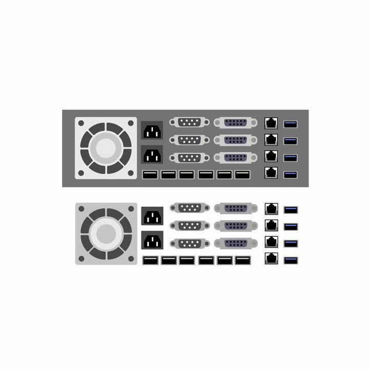 扁平化风格的VGA电脑显示器接口以太网卡接口USB接口风扇出风口等电脑接口png图片免抠矢量素材 IT科技-第1张