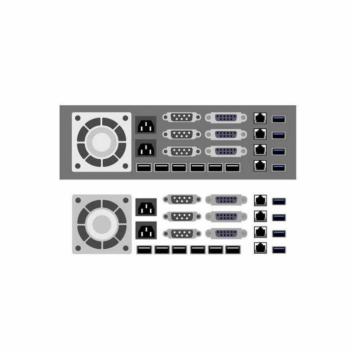 扁平化风格的VGA电脑显示器接口以太网卡接口USB接口风扇出风口等电脑接口png图片免抠矢量素材