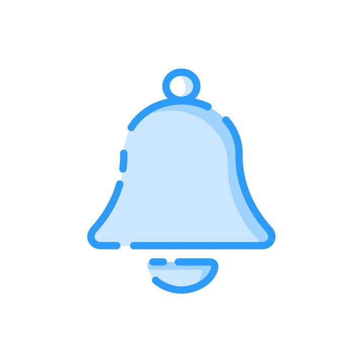 MBE风格蓝色铃铛图标png图片免抠素材 图标-第1张