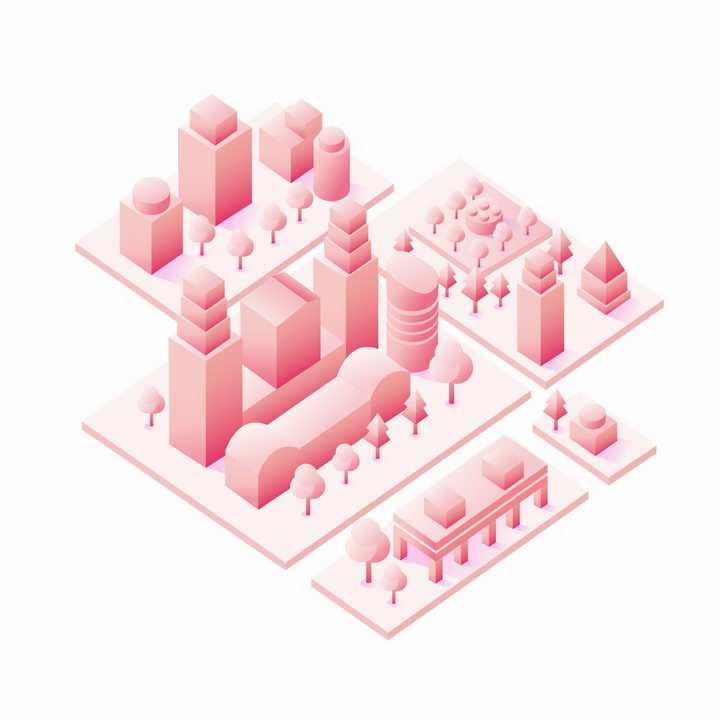 粉红色3D城市建筑街道模型png图片免抠ai矢量素材