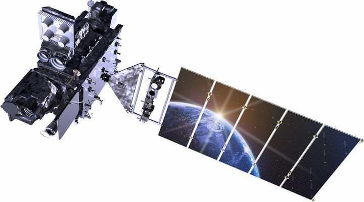 太阳能电池板上反映了地球的人造卫星png图片免抠素材