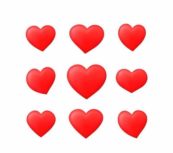 9款高光风格立体红心爱心图案png图片免抠矢量素材
