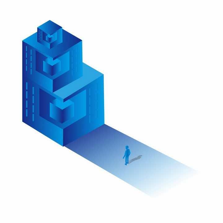 蓝色科幻风格立方体矩阵和人影png图片免抠ai矢量素材
