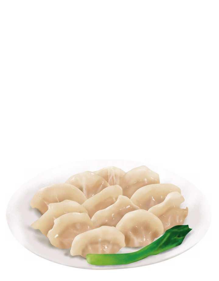 一盘冒着热气的饺子水饺png图片免抠素材
