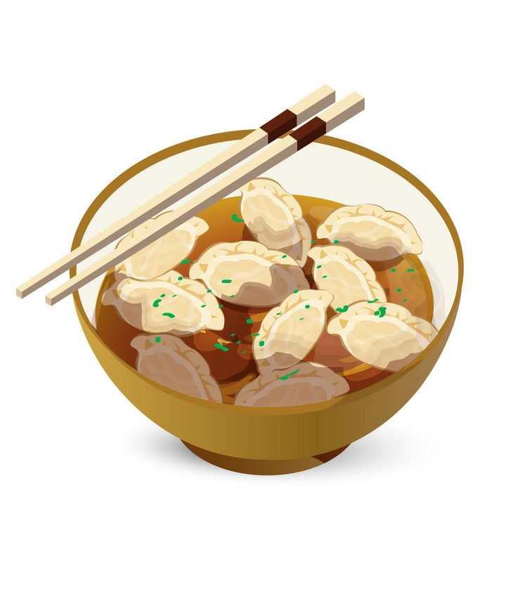 手绘风格一碗煮好的水饺馄饨png图片免抠素材