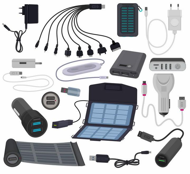 各种太阳能充电电池和充电宝充电手电筒数据线等png图片免抠eps矢量素材 IT科技-第1张