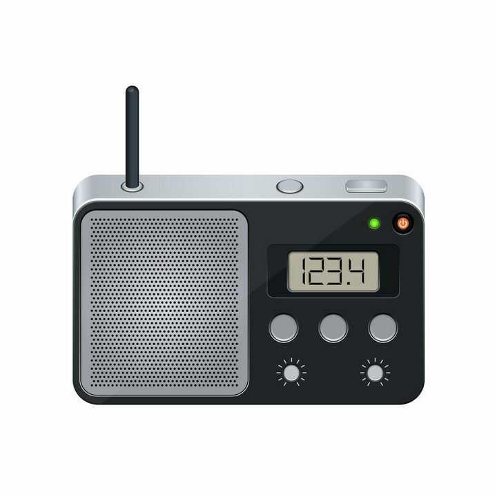 黑色银色的液晶显示功能调频无线电收音机png图片免抠矢量素材