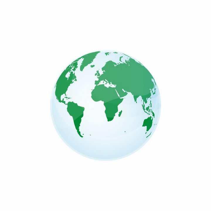 淡蓝色半透明地球和绿色大陆地球模型png图片免抠矢量素材