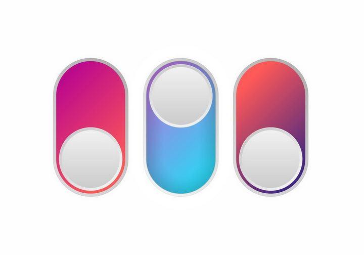 3款渐变色风格逼真按钮png图片免抠矢量素材 按钮元素-第1张