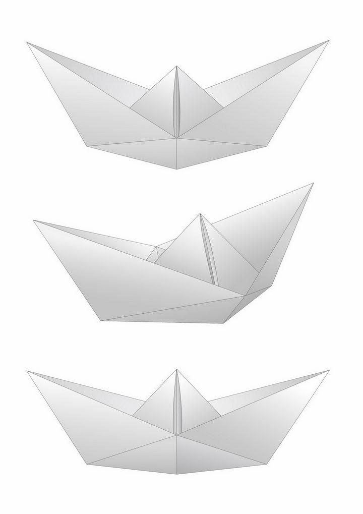 3款灰白色折纸船png图片免抠矢量素材 休闲娱乐-第1张
