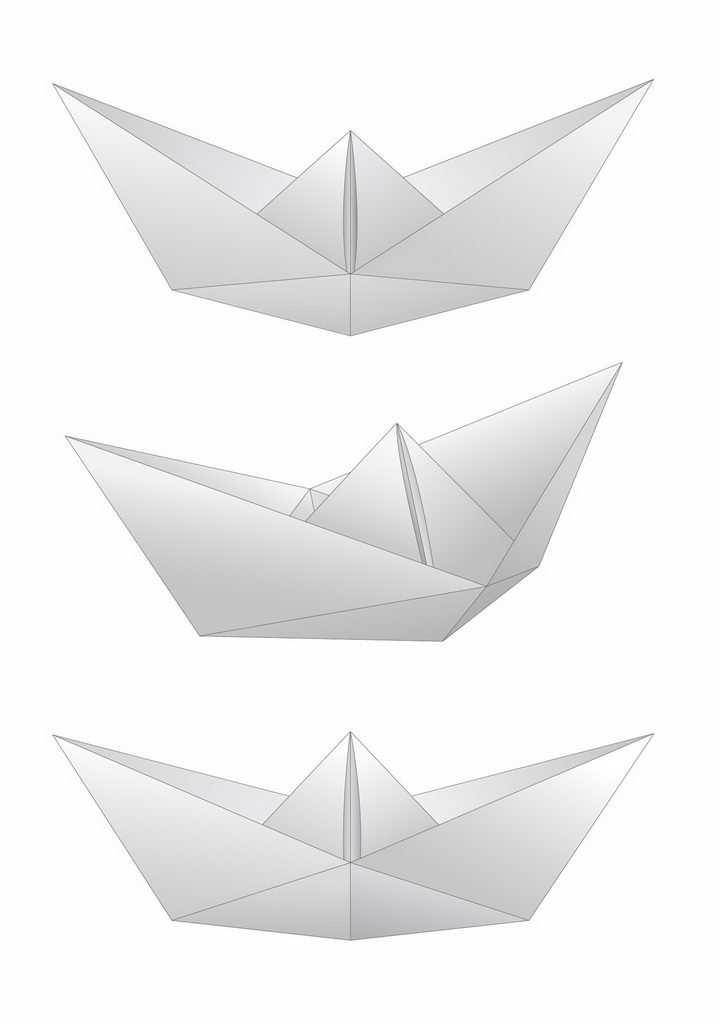 3款灰白色折纸船png图片免抠矢量素材
