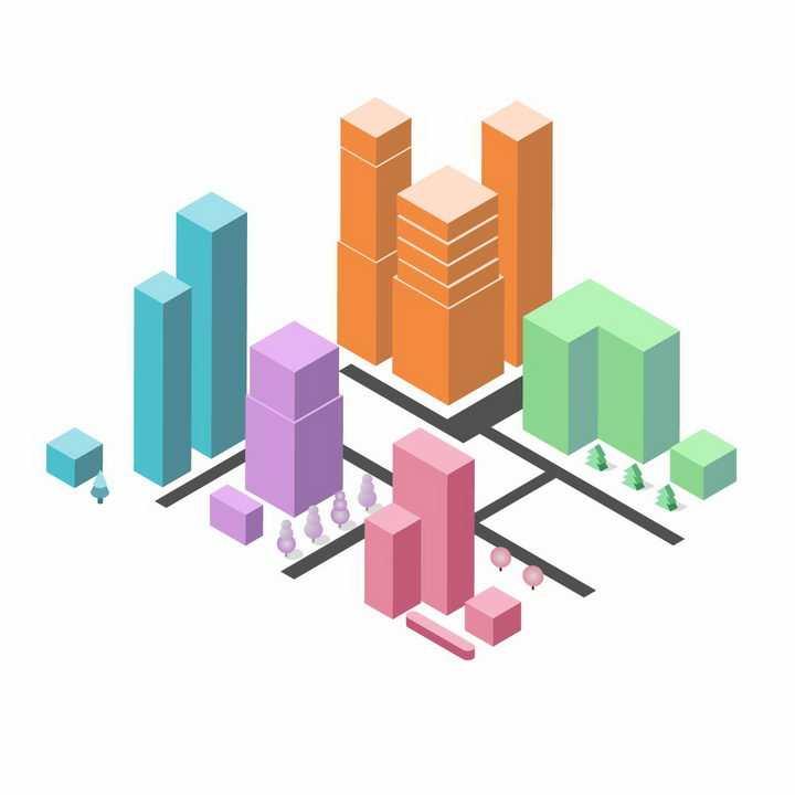 彩色方块3D城市建筑模型png图片免抠ai矢量素材
