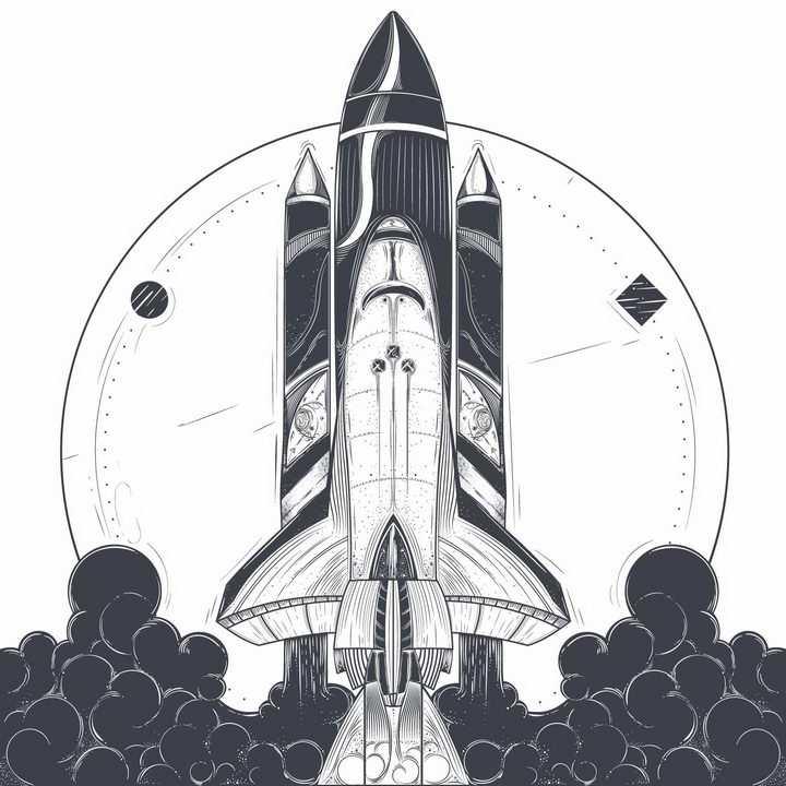 手绘漫画风格起飞的航天飞机png图片免抠矢量素材