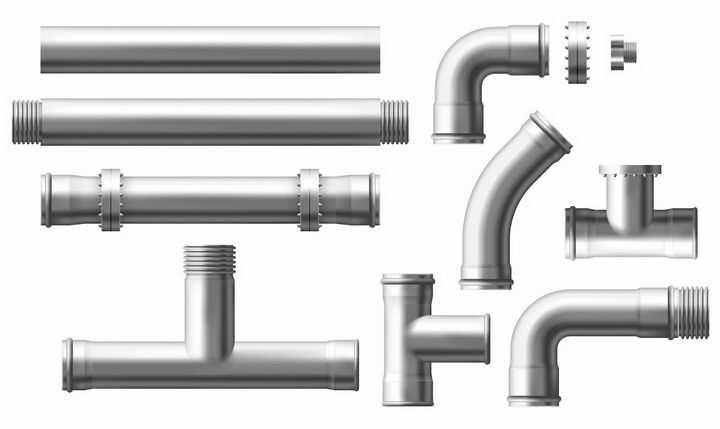 各种不锈钢钢管连接器png图片免抠矢量素材