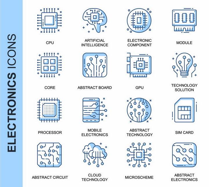 16款CPU集成电路云计算线条图标png图片免抠矢量素材 IT科技-第1张