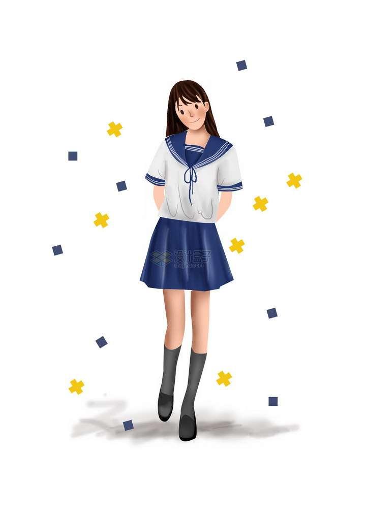 甜美笑容的彩绘风格水手服校服美少女png图片免抠素材