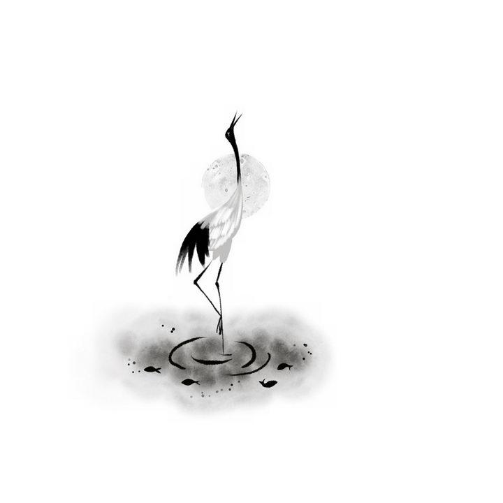 水墨画风格引吭高歌的仙鹤丹顶鹤png图片免抠素材 生物自然-第1张