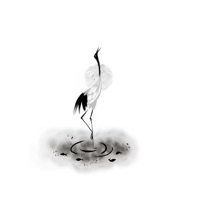 水墨画风格引吭高歌的仙鹤丹顶鹤png图片免抠素材