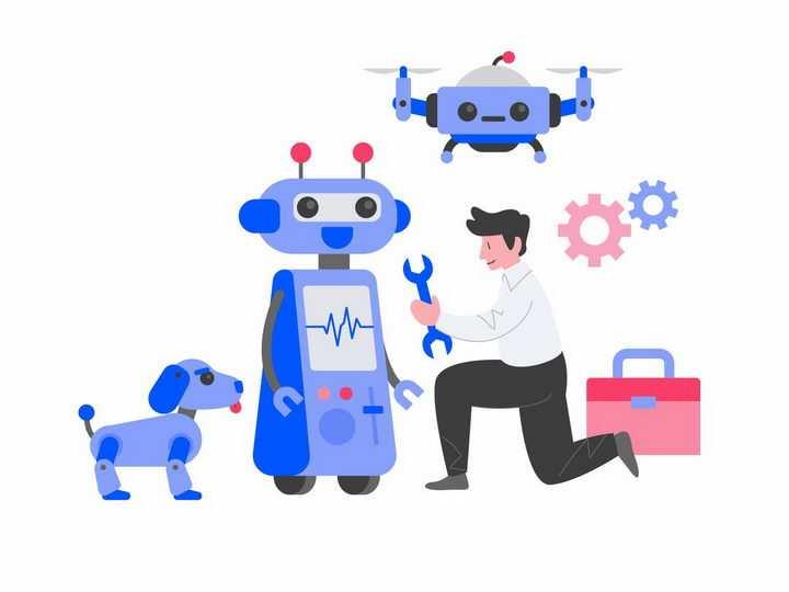 扁平化风格维修工和机器人无人机机器狗png图片免抠矢量素材