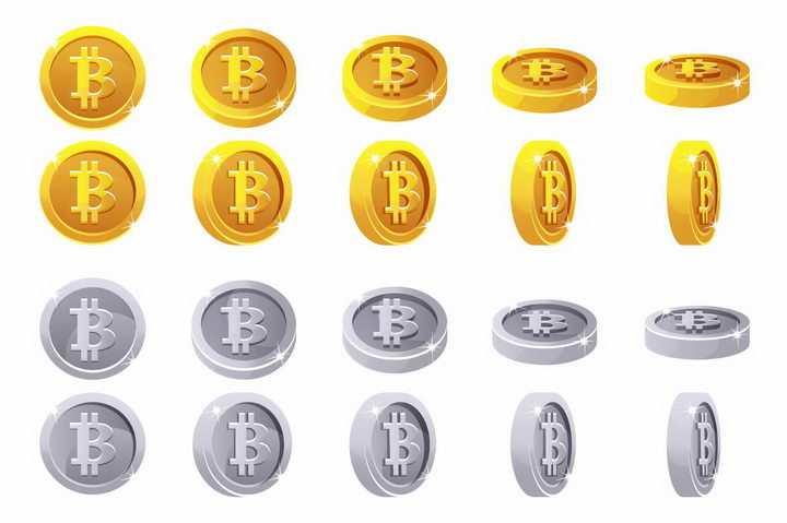 两套各种角度的比特币金币银币png图片免抠矢量素材