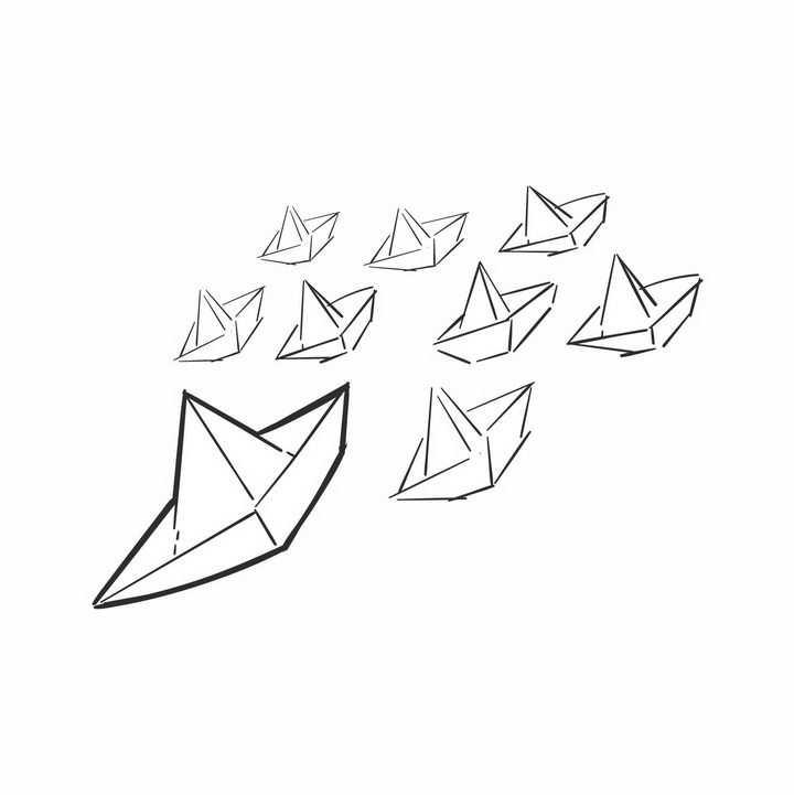 一群黑色线条折纸船png图片免抠矢量素材