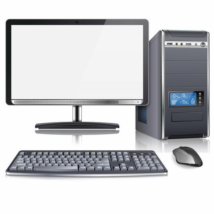 逼真的台式机电脑主机显示器键盘和鼠标等电脑配件png图片免抠矢量素材 IT科技-第1张