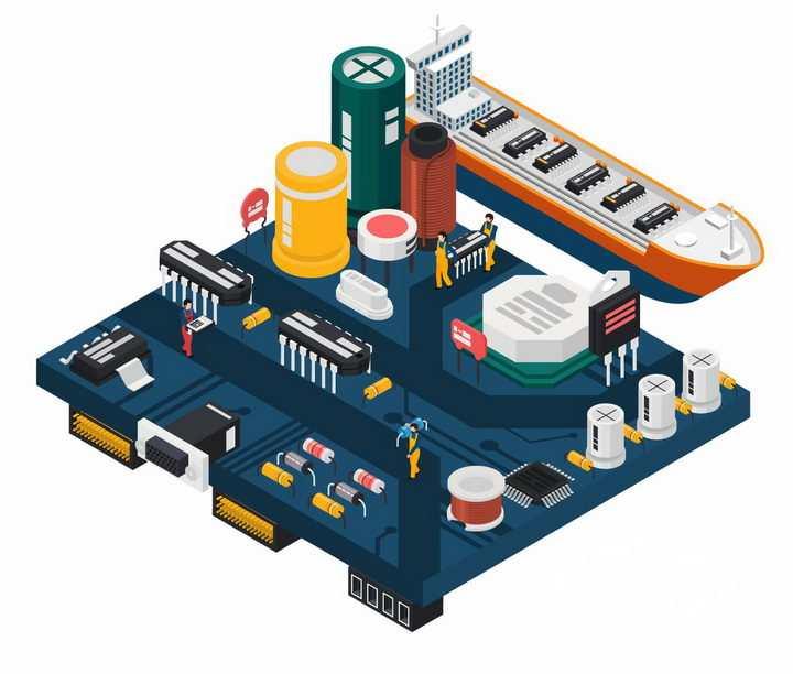 创意抽象数据变成货物象征了集成电路数据的流通png图片免抠矢量素材