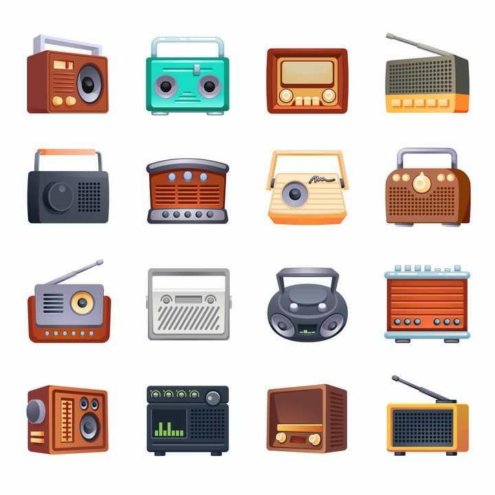 16款彩色卡通收音机png图片免抠矢量素材