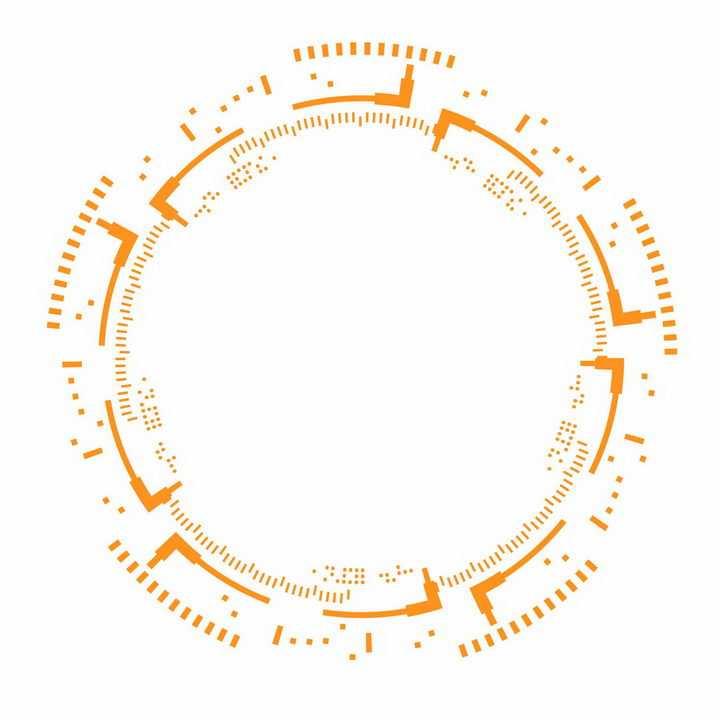 创意橙色方形点组成的圆环图案png图片免抠ai矢量素材