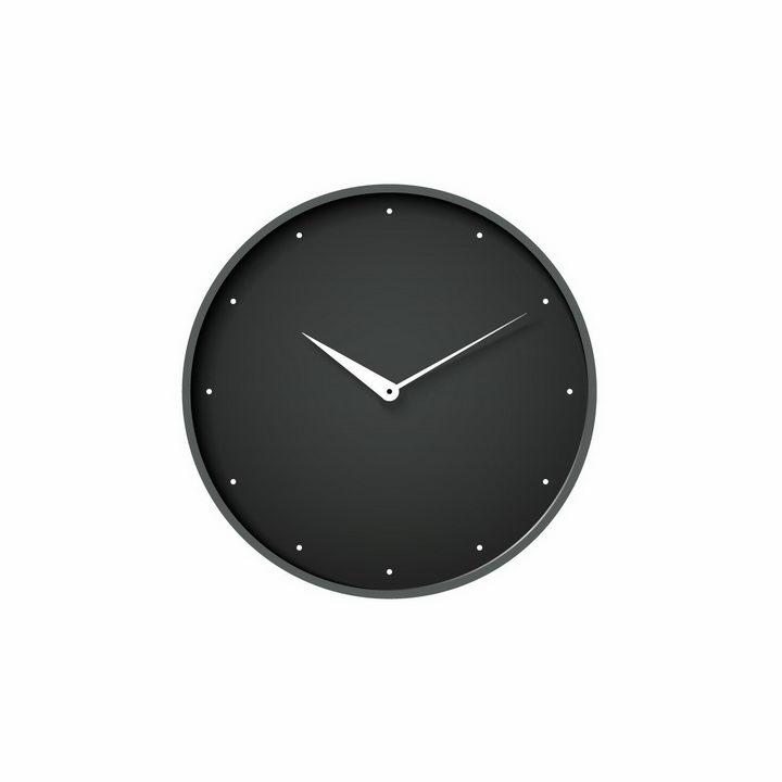 简约风格的黑色表盘的时钟手表时针分钟盘面png图片免抠矢量素材 生活素材-第1张