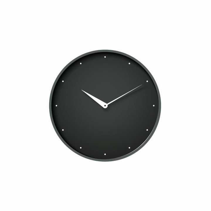 简约风格的黑色表盘的时钟手表时针分钟盘面png图片免抠矢量素材