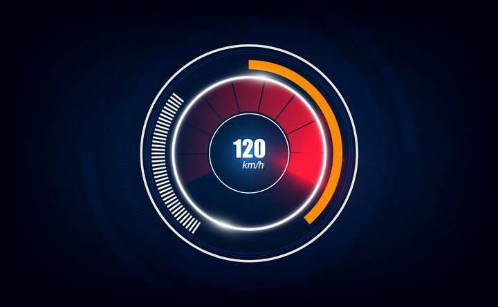 超炫的汽车仪表盘速度表显示界面png图片免抠矢量素材