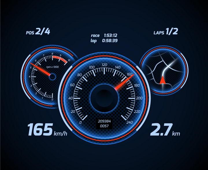 蓝色发光风格汽车仪表盘速度表显示界面png图片免抠矢量素材 交通运输-第1张