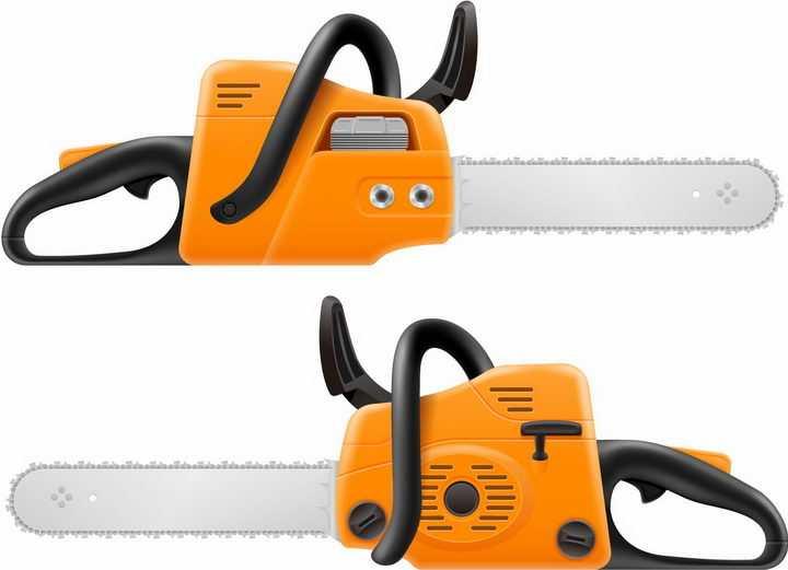 两款橙色的电链锯伐木锯电锯伐木工具png图片免抠矢量素材